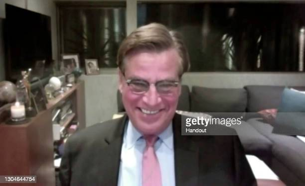 In this handout screengrab Aaron Sorkin, winner of Best Screenplay - Motion Picture speaks during the 78th Annual Golden Globe Virtual General Press...