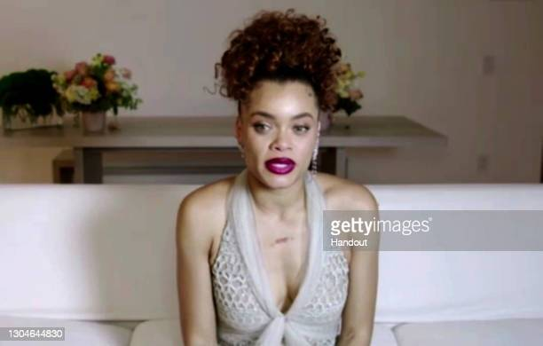 In this handout screengrab Andra Day winner of Best Performance by an Actress in a Motion Picture - Drama speaks during the 78th Annual Golden Globe...