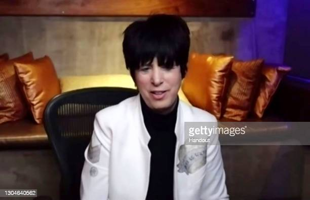 In this handout screengrab Diane Warren, winner of Best Original Song - Motion Picture Io Si speak during the 78th Annual Golden Globe Virtual...