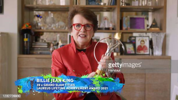 In this handout screengrab released on May 6, Billie Jean King speaks after winning the Laureus Lifetime Achievement Award during the Laureus World...