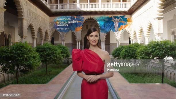 In this handout screengrab released on May 6, Host Paz Vega poses during the Laureus World Sports Awards 2021 Virtual Award Ceremony in Seville,...