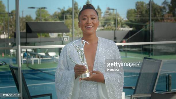 In this handout screengrab released on May 6, Naomi Osaka speaks after winning the Laureus World Sportswoman of the Year Award during the Laureus...