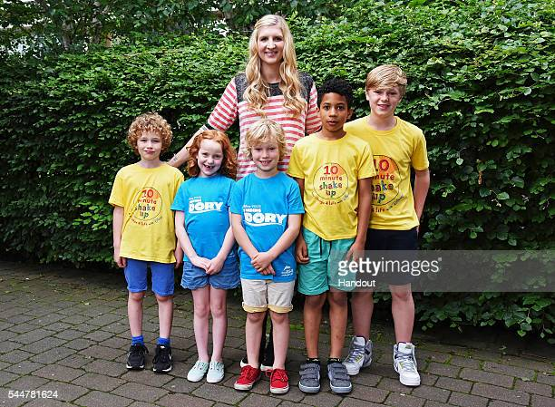 In this handout supplied by Disney, Rebecca Adlington films at the Manchester Aquatic Centre for a new campaign from Disney, Change4Life and the...