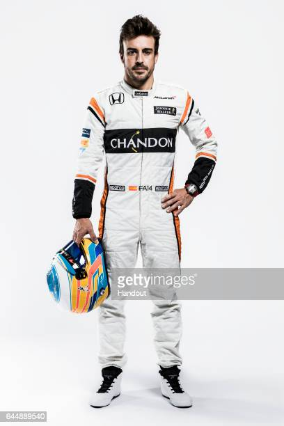 In this handout supplied by McLaren F1 Fernando Alonso of Spain attends the launch of the new McLaren Formula One car for the 2017 season the McLaren...