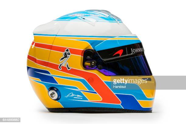 In this handout supplied by McLaren F1 the drivers helmet of Fernando Alonso of Spain seen at the launch of the new McLaren Formula One car for the...