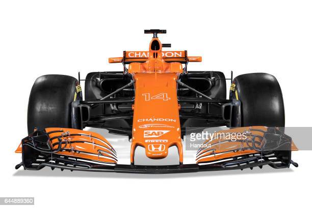 In this handout supplied by McLaren F1 the team unveil their new Formula One car for the 2017 season the McLaren MCL32 on February 24 2017 in Woking...