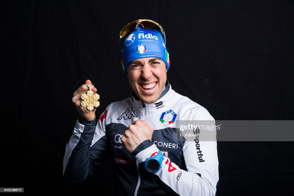 In this handout supplied by NordicFocus, Federico Pellegrino of Italy poses with the Gold medal after the medal ceremony for the Men's 1.6 KM Cross Country Sprint Final during the FIS Nordic World Ski Championships on February 24, 2017 in Lahti, Finland.