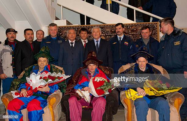In this handout supplied by the European Space Agency the International Space Station TMA15 crew of astronaut Frank De Winne of Belgium Russian...