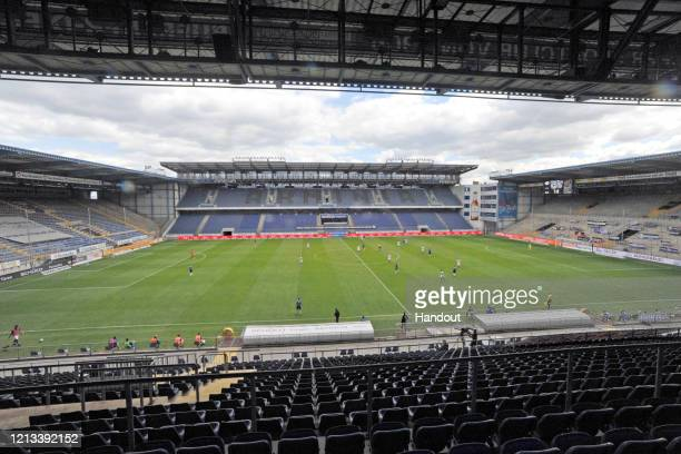 In this handout via DSC Arminia Bielefeld A general view during the Second Bundesliga match between DSC Arminia Bielefeld and VfL Osnabrück at...