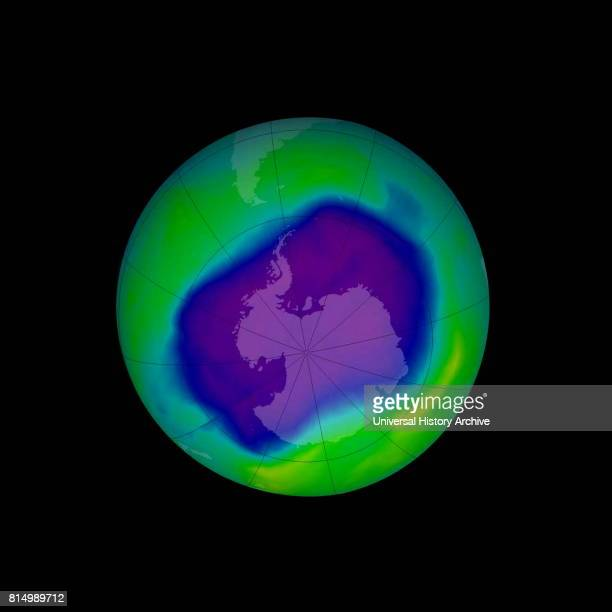 In this image from September 2006 the Antarctic ozone hole was equal to the record singleday largest area of 114 million square miles reached on Sept...
