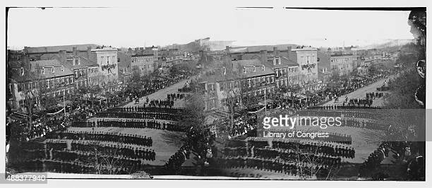 In this image from the US Library of Congress the funeral procession for US President Abraham Lincoln moves down Pennsylvania Avenue on April 19 1865...
