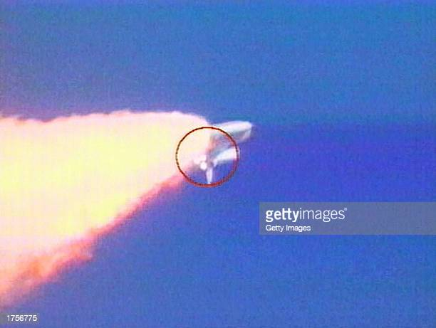 In this image from video an object is visible falling from the Space Shuttle Columbia during liftoff on January 16 2003 from the Kennedy Space Center...