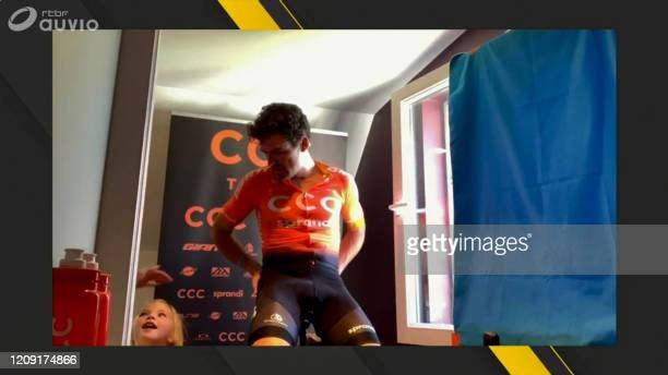 In this image grab taken on April 5 2020 from Belgian channel RTBF Belgian Greg Van Avermaet of CCC Team celebrates after winning the Virtual Tour of...