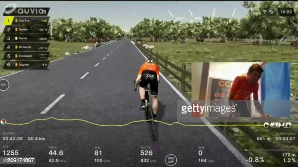 In this image grab taken on April 5 2020 from Belgian channel RTBF Belgian Greg Van Avermaet of CCC Team celebrates competes during the Virtual Tour...