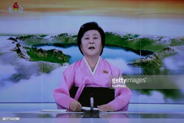 In this image made from video of a news bulletin Tuesday July 4 North Korea's KRT television shows a presenter announcing North Korea has...
