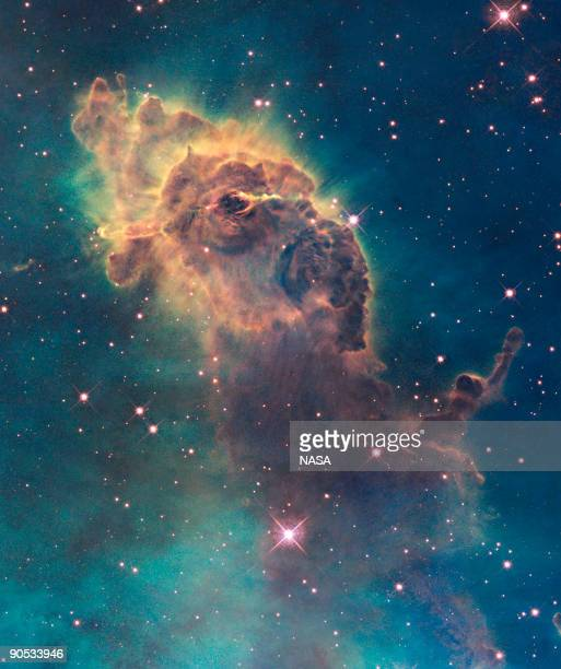 In this image provided by NASA, ESA, and the Hubble SM4 ERO Team, a stellar jet in the Carina Nebula is pictured in Space. Today, September 9 NASA...