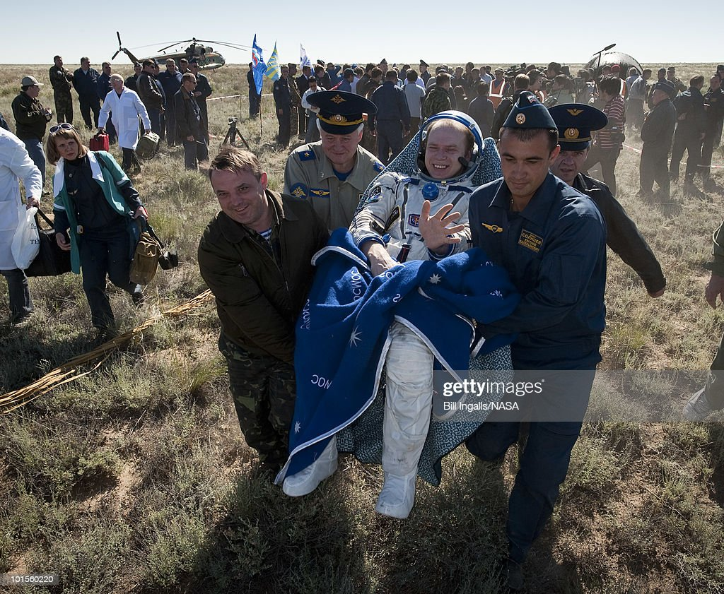In this image provided by NASA, Expedition 23 Commander Oleg Kotov sits in a chair outside the Soyuz Capsule just minutes after he and fellow crew members Soichi Noguchi and T.J. Creamer landed in their Soyuz TMA-17 capsule on June 2, 2010 near the town of Zhezkazgan, Kazakhstan. NASA Astronaut Creamer, Russian Cosmonaut Kotov and Japanese Astronaut Noguchi are returning from six months onboard the International Space Station where they served as members of the Expedition 22 and 23 crews.