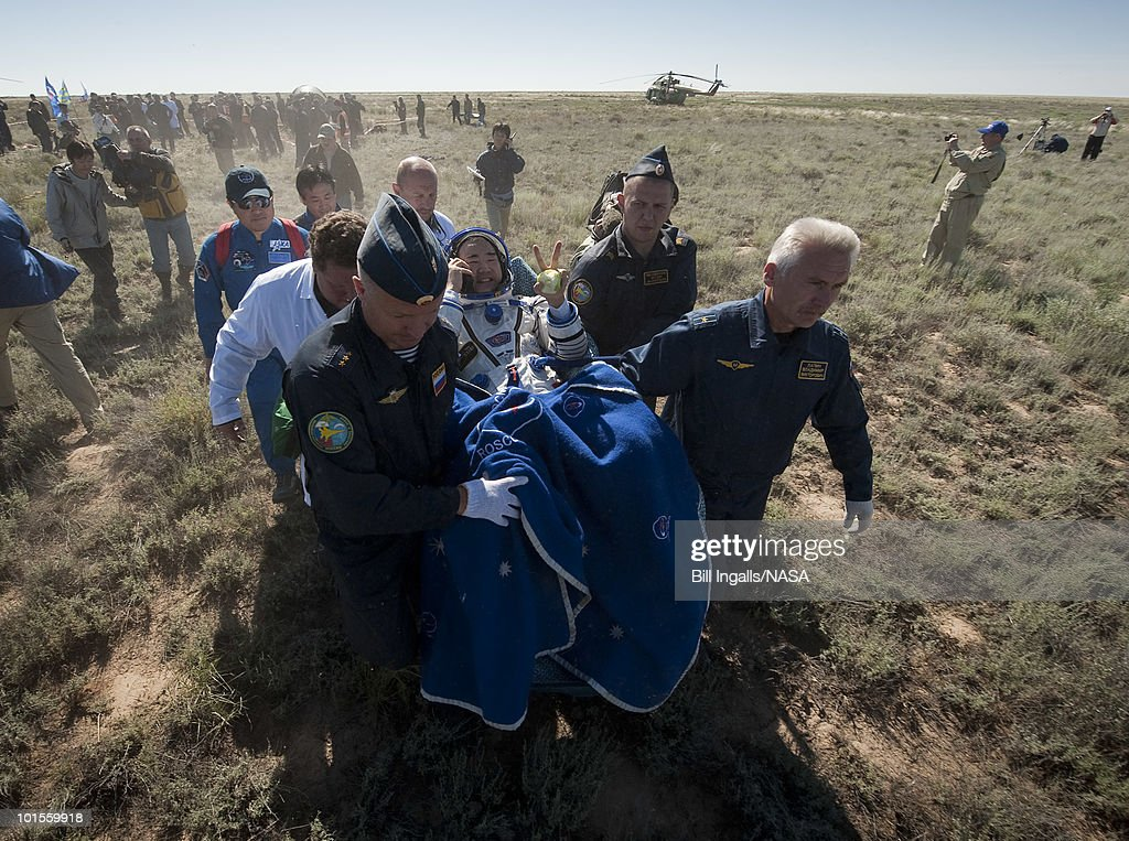 In this image provided by NASA, Expedition 23 Flight Engineer Soichi Noguchi sits in a chair outside the Soyuz Capsule just minutes after he and fellow crew members Soichi Noguchi and T.J. Creamer landed in their Soyuz TMA-17 capsule on June 2, 2010 near the town of Zhezkazgan, Kazakhstan. NASA Astronaut Creamer, Russian Cosmonaut Kotov and Japanese Astronaut Noguchi are returning from six months onboard the International Space Station where they served as members of the Expedition 22 and 23 crews.