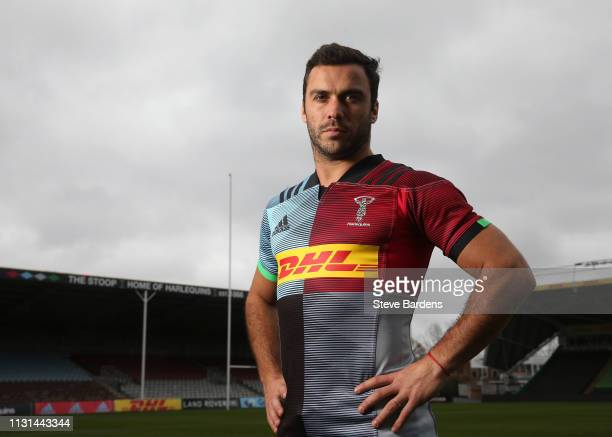 In this image released by Harlequins on March 18 2019 Scrum half Martin Landejo poses for portraits at the Twickenham Stoop England Argentinian...