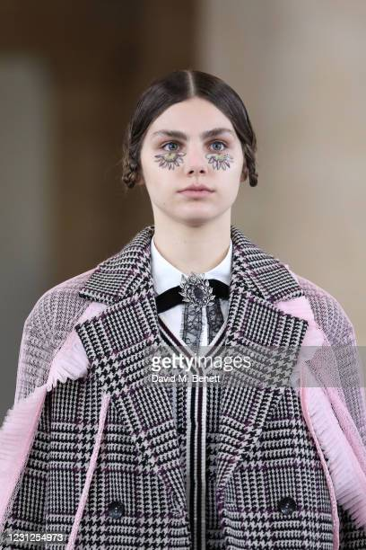 In this image released February 19, a model walks the runway during the filming of the Bora Aksu digital presentation during London Fashion Week...