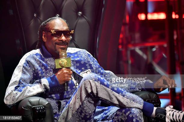 In this image released on April 17, Snoop Dogg of hip-hop supergroup Mt. Westmore performs during the Triller Fight Club: Jake Paul v Ben Askren...