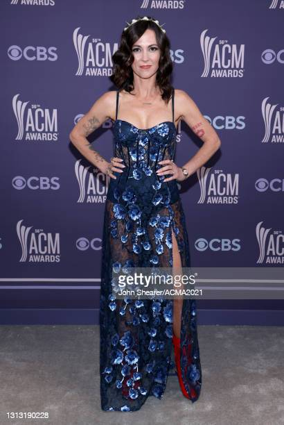 In this image released on April 18, Amanda Shires attends the 56th Academy of Country Music Awards at the Grand Ole Opry on April 18, 2021 in...