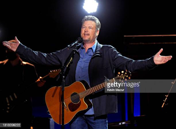 In this image released on April 18, Blake Shelton performs onstage at the 56th Academy of Country Music Awards at the Grand Ole Opry on April 18,...