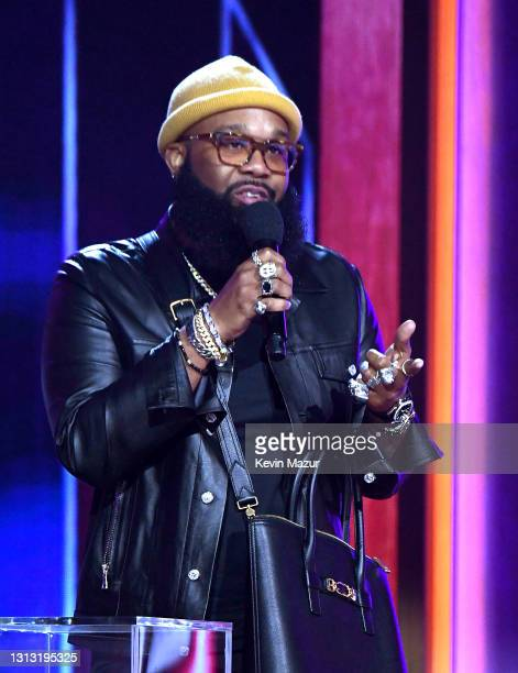 In this image released on April 18, Blanco Brown speaks onstage at the 56th Academy of Country Music Awards at the Grand Ole Opry on April 18, 2021...