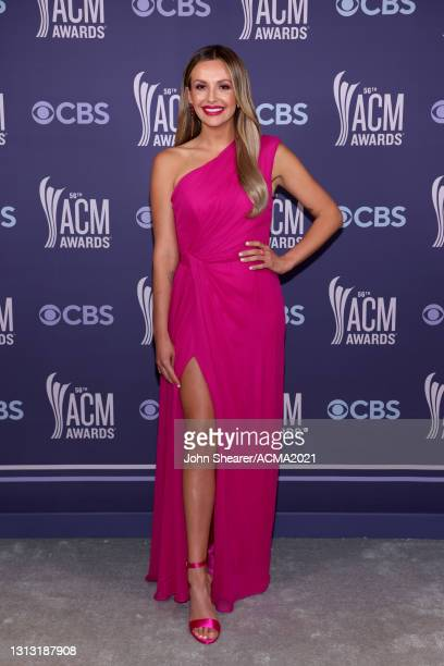 In this image released on April 18, Carly Pearce attends the 56th Academy of Country Music Awards at the Grand Ole Opry on April 18, 2021 in...