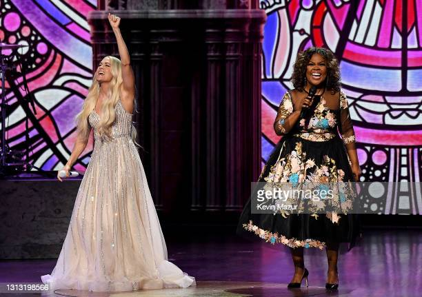 In this image released on April 18, Carrie Underwood and CeCe Winans perform onstage at the 56th Academy of Country Music Awards at the Grand Ole...