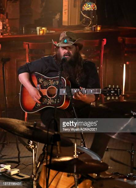 In this image released on April 18, Chris Stapleton performs at the 56th Academy of Country Music Awards at the Bluebird Cafe on April 18, 2021 in...