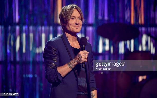 In this image released on April 18, co-host Keith Urban speaks onstage at the 56th Academy of Country Music Awards at the Grand Ole Opry on April 18,...