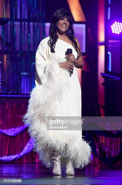 In this image released on April 18, co-host Mickey Guyton speaks onstage at the 56th Academy of Country Music Awards at the Grand Ole Opry on April...
