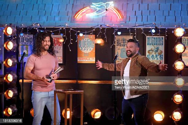 In this image released on April 18, Dan Smyers and Shay Mooney of Dan + Shay accept the award for Duo of the Year onstage at the 56th Academy of...