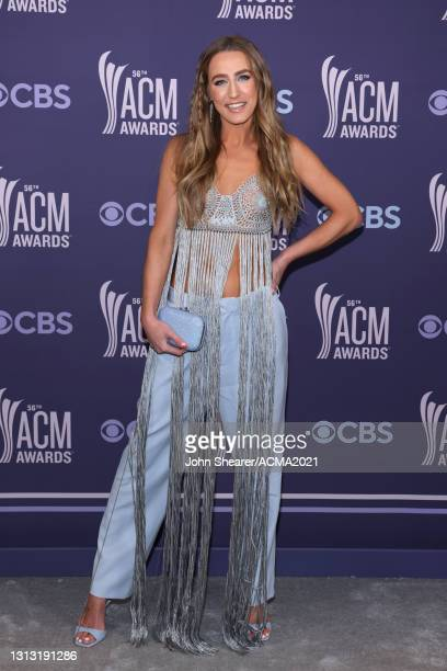 In this image released on April 18, Ingrid Andress attends the 56th Academy of Country Music Awards at the Grand Ole Opry on April 18, 2021 in...