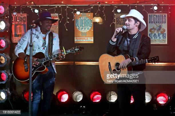 In this image released on April 18, Jimmie Allen and Brad Paisley perform onstage at the 56th Academy of Country Music Awards at the Bluebird Cafe on...