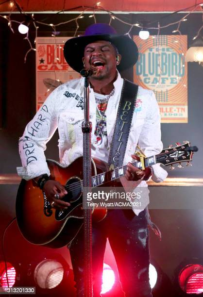 In this image released on April 18, Jimmie Allen performs onstage at the 56th Academy of Country Music Awards at the Bluebird Cafe on April 18, 2021...