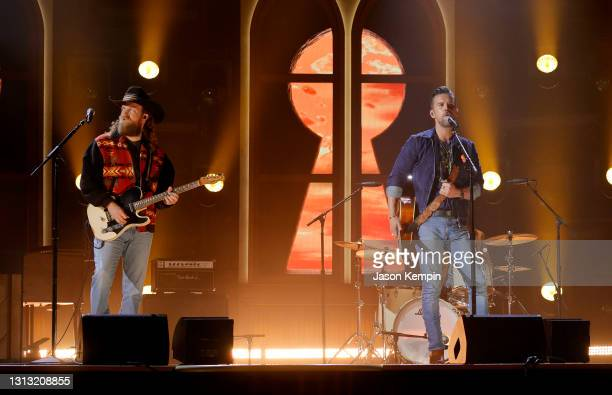 In this image released on April 18, John Osborne and T.J. Osborne of Brothers Osborne perform onstage at the 56th Academy of Country Music Awards at...