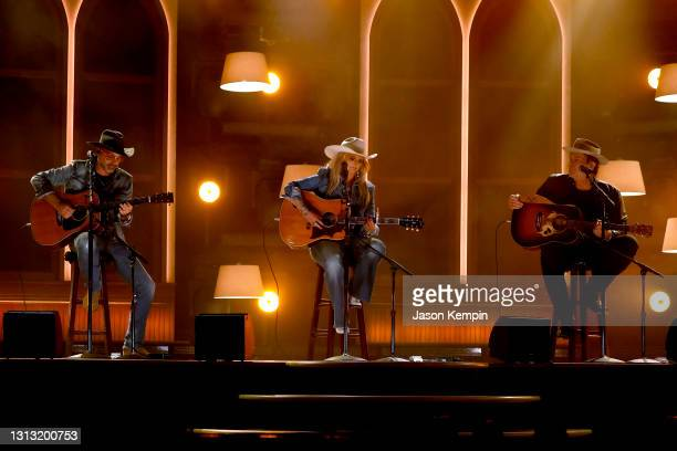 In this image released on April 18, Jon Randall, Miranda Lambert, and Jack Ingram perform onstage at the 56th Academy of Country Music Awards at the...