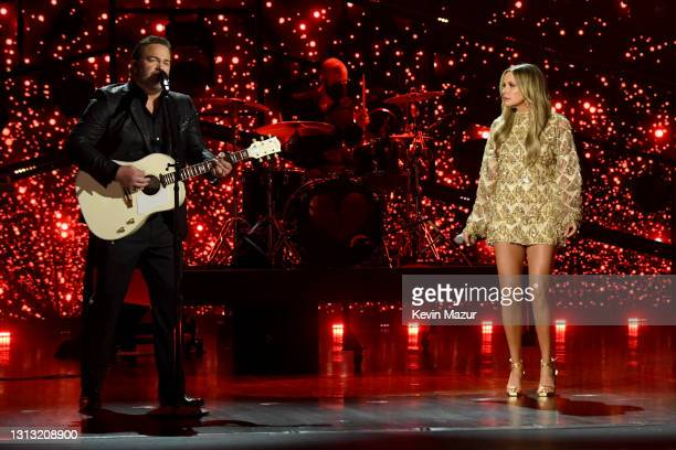 In this image released on April 18, Lee Brice and Carly Pearce perform onstage at the 56th Academy of Country Music Awards at the Grand Ole Opry on...