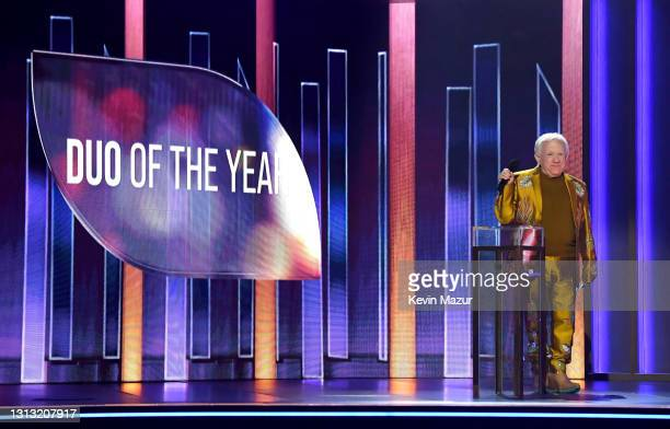 In this image released on April 18, Leslie Jordan speaks onstage at the 56th Academy of Country Music Awards at the Grand Ole Opry on April 18, 2021...