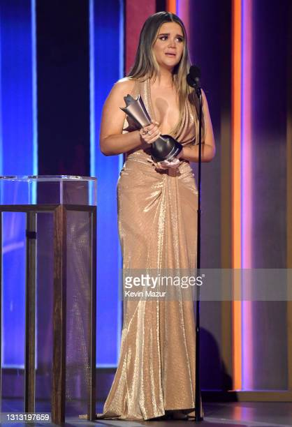 In this image released on April 18, Maren Morris accepts the award for Song of the Year for 'The Bones' onstage at the 56th Academy of Country Music...