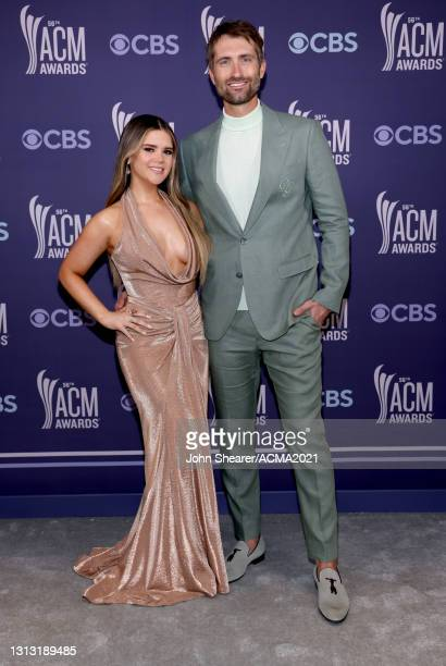 In this image released on April 18, Maren Morris and Ryan Hurd attend the 56th Academy of Country Music Awards at the Grand Ole Opry on April 18,...