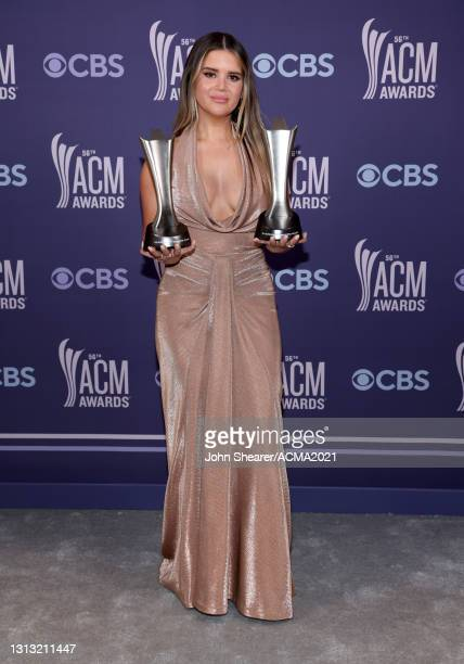 In this image released on April 18, Maren Morris, winner of the awards for Song of the Year for 'The Bones' and Female Artist of the Year, attends...