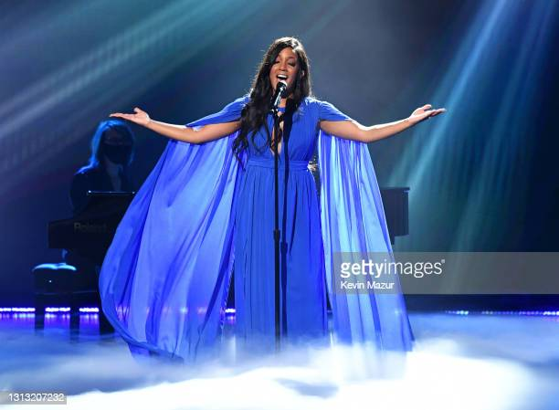 In this image released on April 18, Mickey Guyton performs onstage at the 56th Academy of Country Music Awards at the Grand Ole Opry on April 18,...