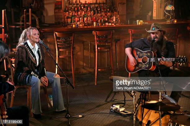 In this image released on April 18, Miranda Lambert and Chris Stapleton perform at the 56th Academy of Country Music Awards at the Bluebird Cafe on...