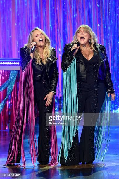 In this image released on April 18, Miranda Lambert and Elle King perform onstage at the 56th Academy of Country Music Awards at the Grand Ole Opry...