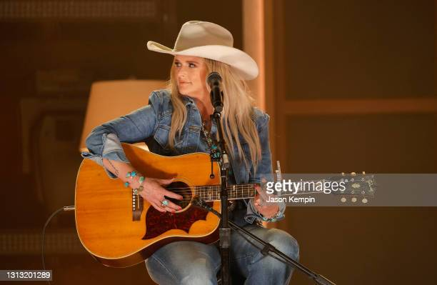 In this image released on April 18, Miranda Lambert performs onstage at the 56th Academy of Country Music Awards at the Ryman Auditorium on April 18,...