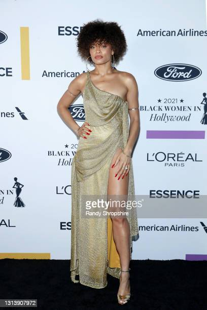 In this image released on April 22 Andra Day attends ESSENCE Black Women in Hollywood Awards in Los Angeles, California.
