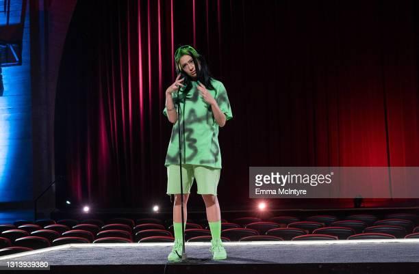 In this image released on April 22, host Melissa Villaseñor impersonates Billie Eilish during the 2021 Film Independent Spirit Awards broadcast on...